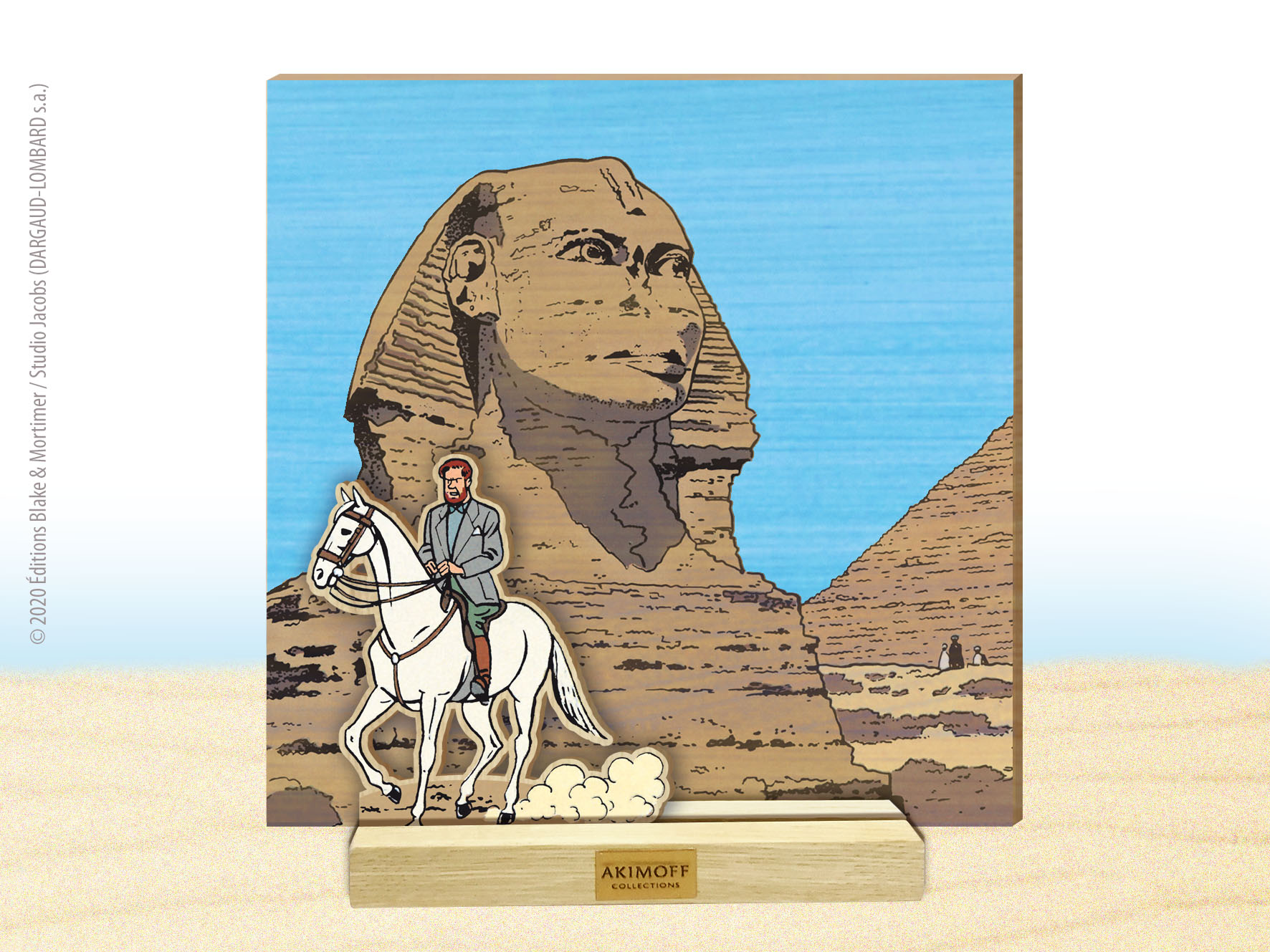 MISE EN SCENE DE COLLECTION EN BOIS N°1 - MORTIMER À CHEVAL DEVANT LE SPHINX